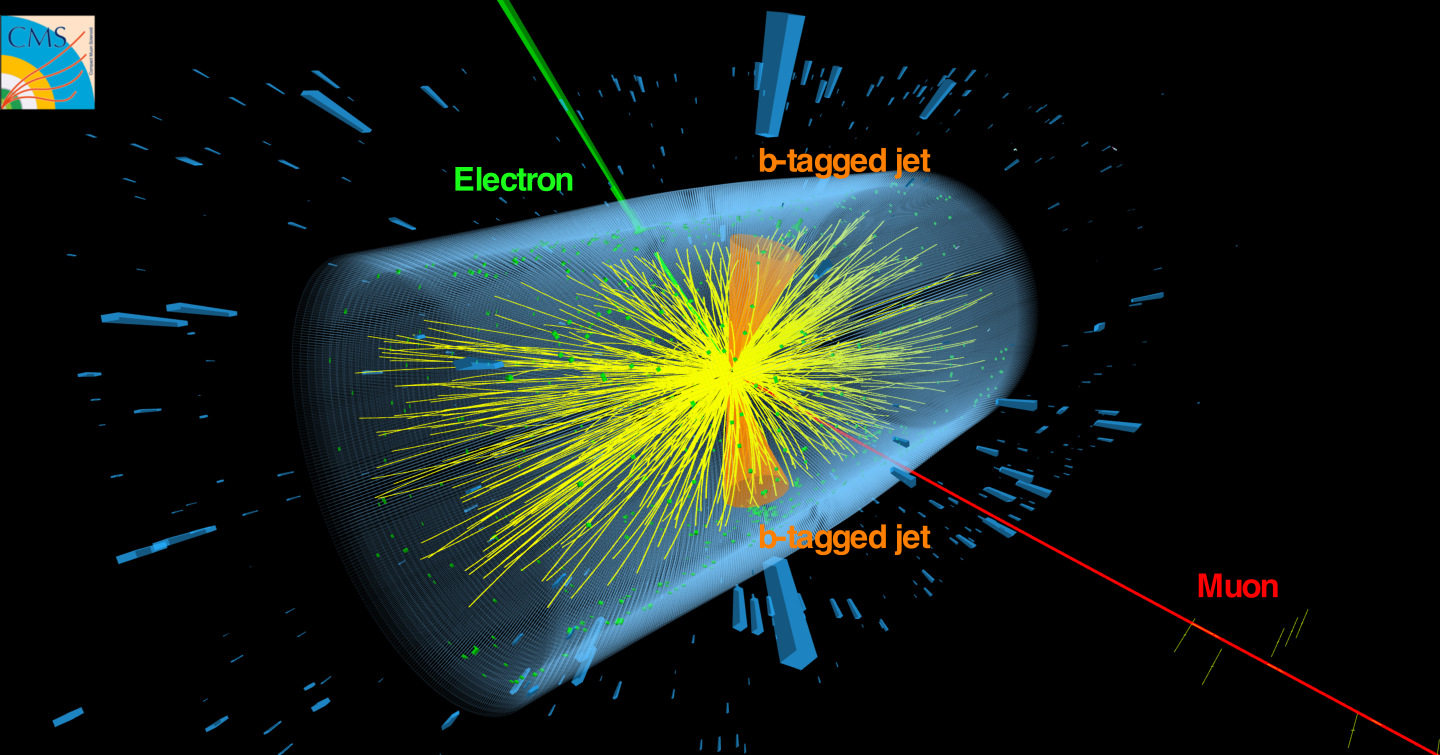 CMS Event display of top quarks in Lead-Lead collisions