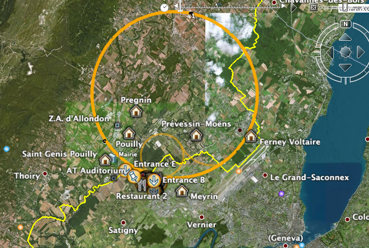 Screen shot of Google earth focused on CERN Map of the Meyrin
