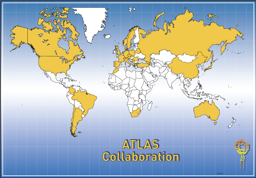 Map Showing Countries In Collaboration In The ATLAS Experiment - Atlus map