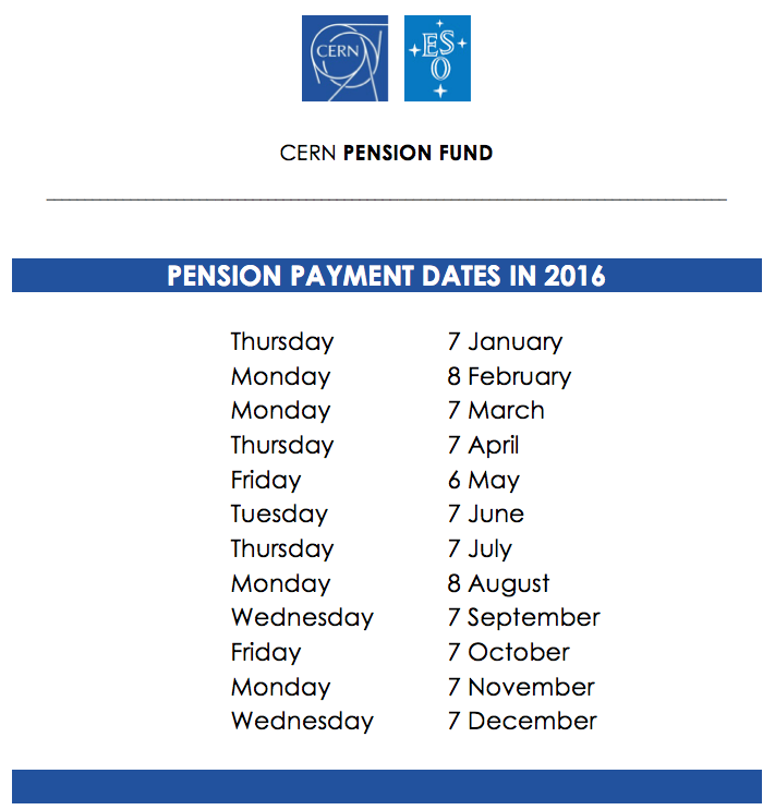Pension payment dates in 2016 - CERN Document Server