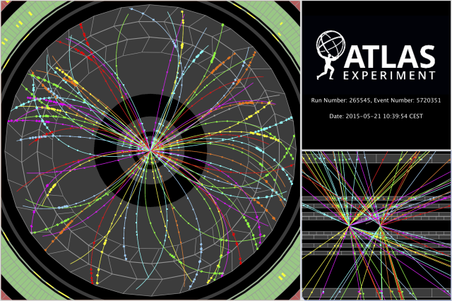 ATLAS,event,13 TeV,restartLHC,Test collisions,LHC run2