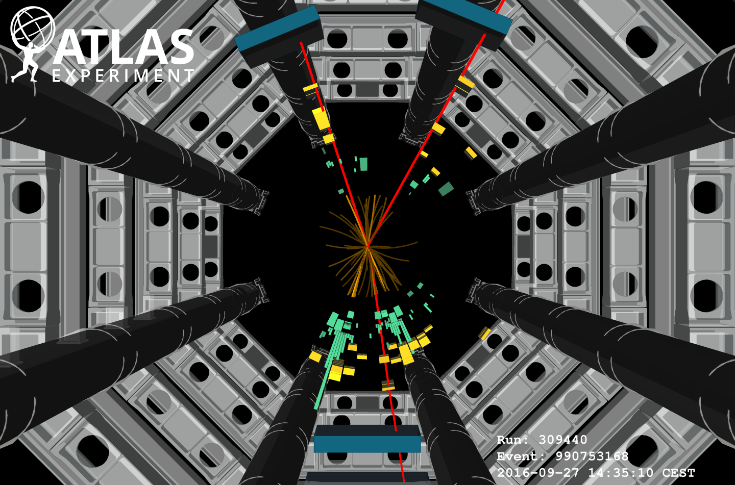 ATLAS Event Display: Higgs boson decaying to a b-quark pair
