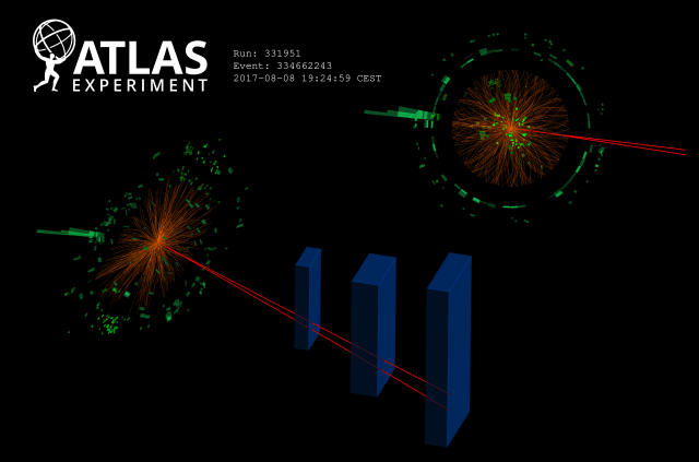 ATLAS event display: Higgs boson candidates decaying to a dilepton pair and a photon