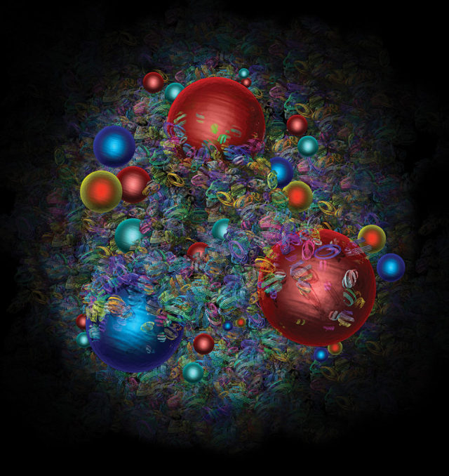 An artist's impression of the mayhem of quarks and gluons inside the proton.