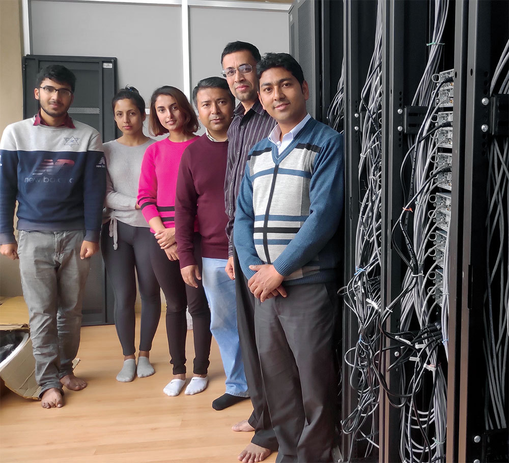 Racking up: The HPC Nepal team in the new computing centre.