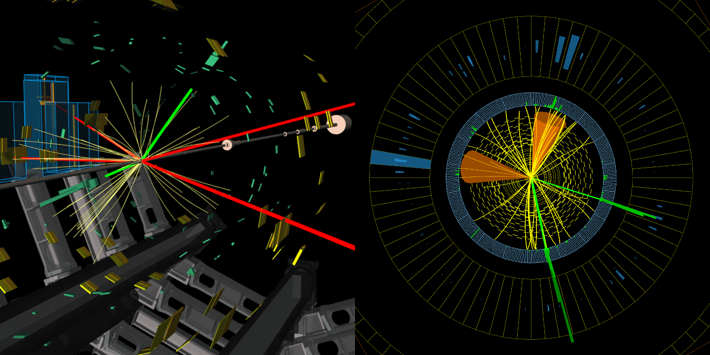 Combined image showing Higgs candidates from ATLAS (left) and CMS (right)