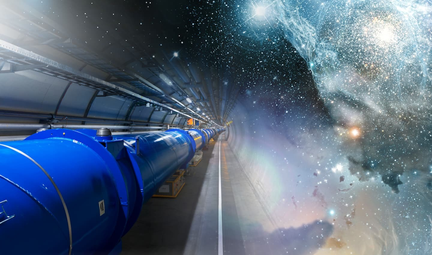 A hybrid image of the LHC and space