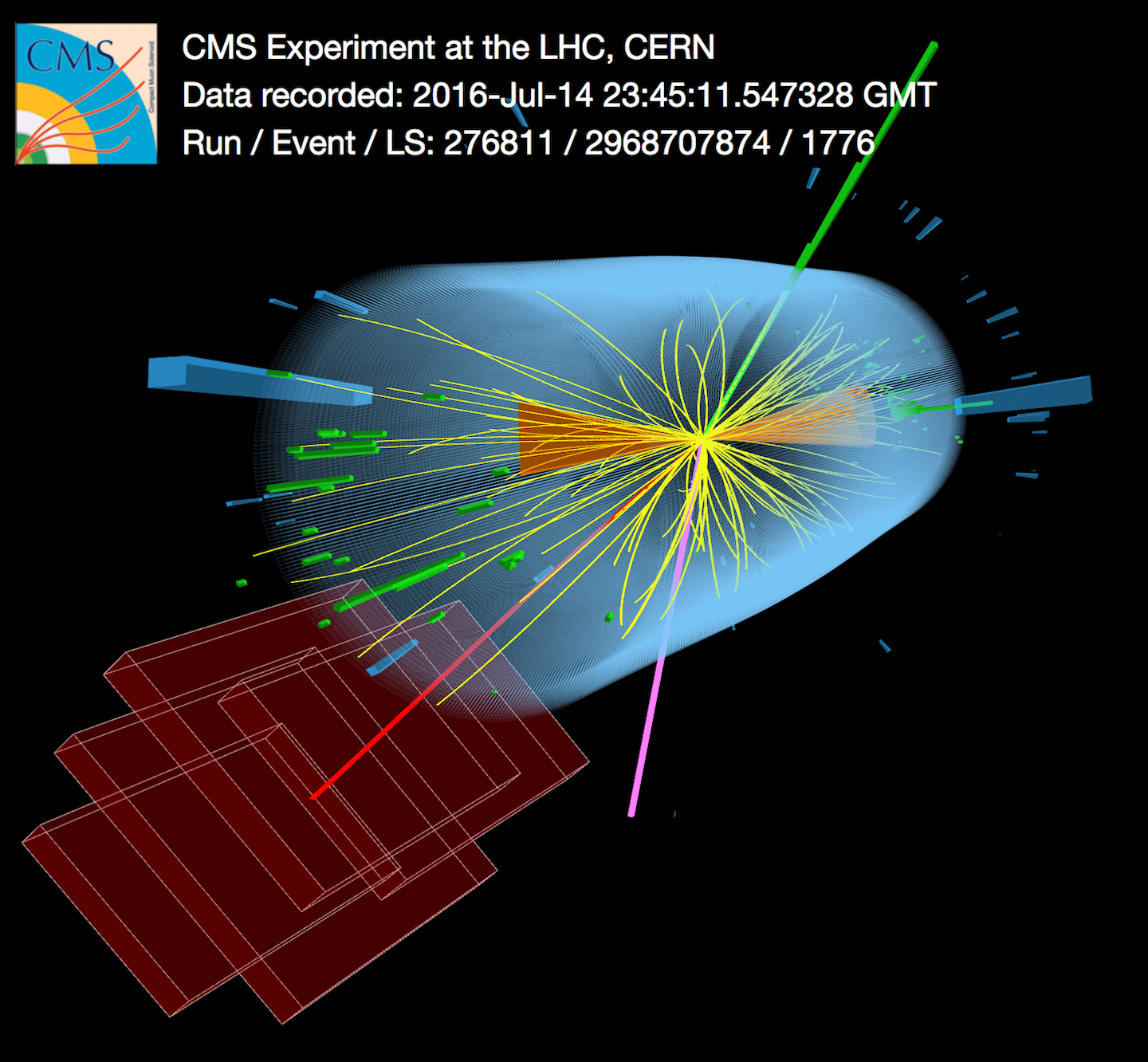 A candidate event for a top quark–antiquark pair recorded by the CMS detector.
