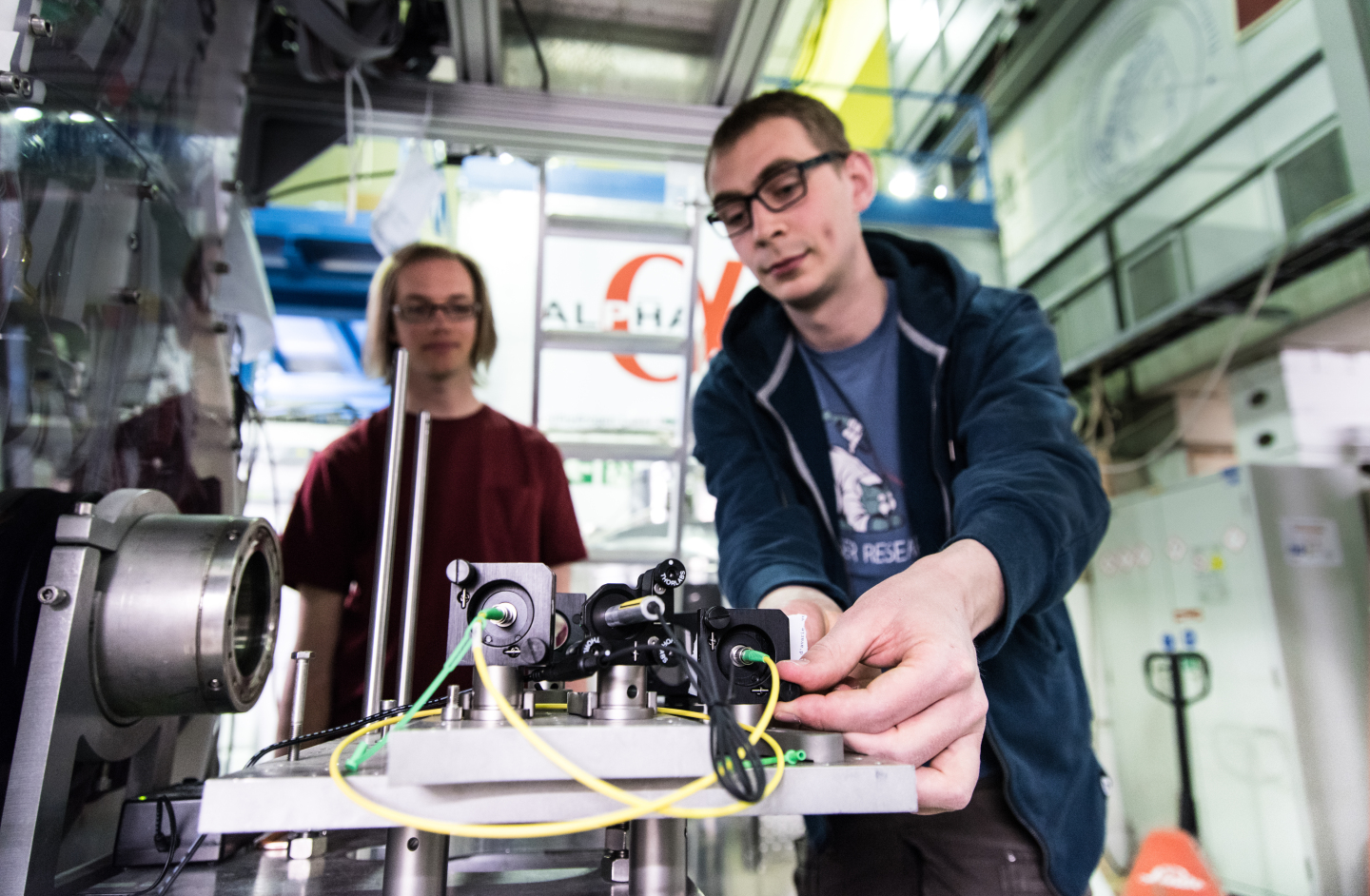 Chris Ørum and Steven Armstrong Jones from ALPHA experiment working on LASER