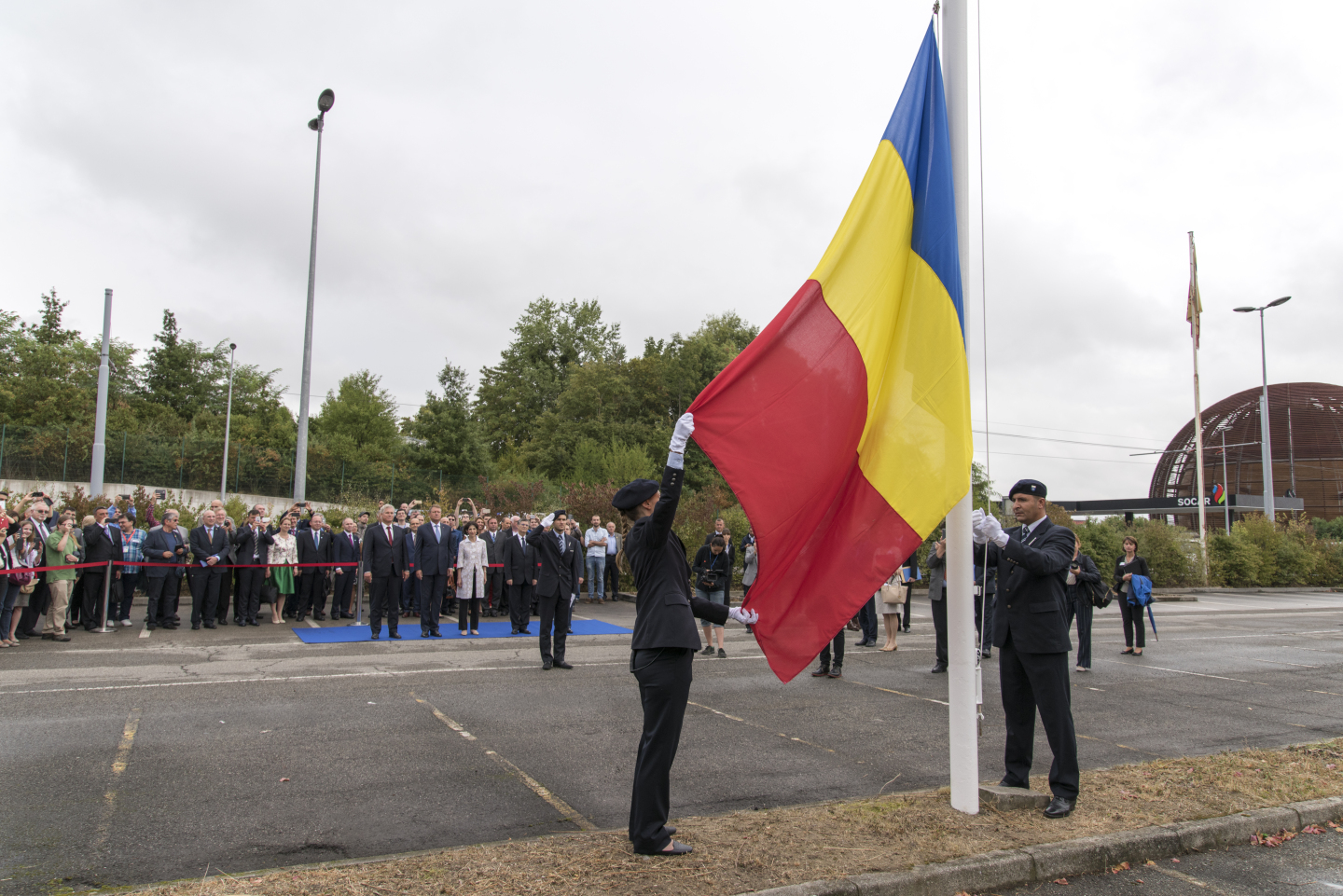 His Excellency Mr Klaus Werner Iohannis President of Romania on the occasion of the flag-raising ceremony to mark the accession of Romania as a Member State of CERN
