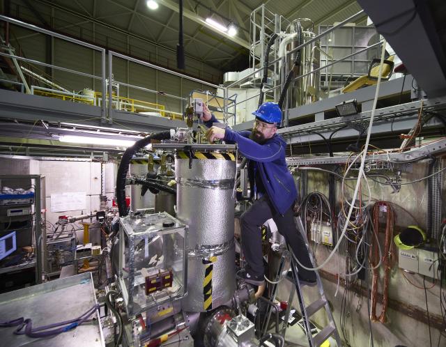 BASE spokesperson Stefan Ulmer working on the experiment