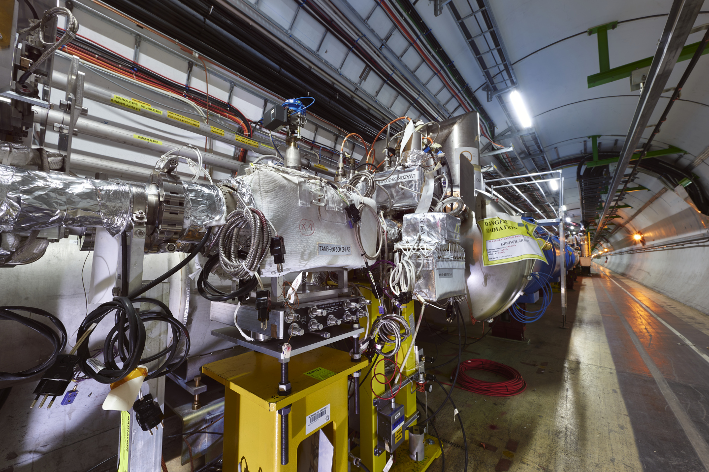 Markus Brugger and Francisco Sanchez Galan (EN-EA) will take Frederick Bordry, Lucio Rossi and Roberto Losito (among others) to Point 8 to see the first HL-LHC equipment installed at its final location in the LHC tunnel: the TANB absorber.