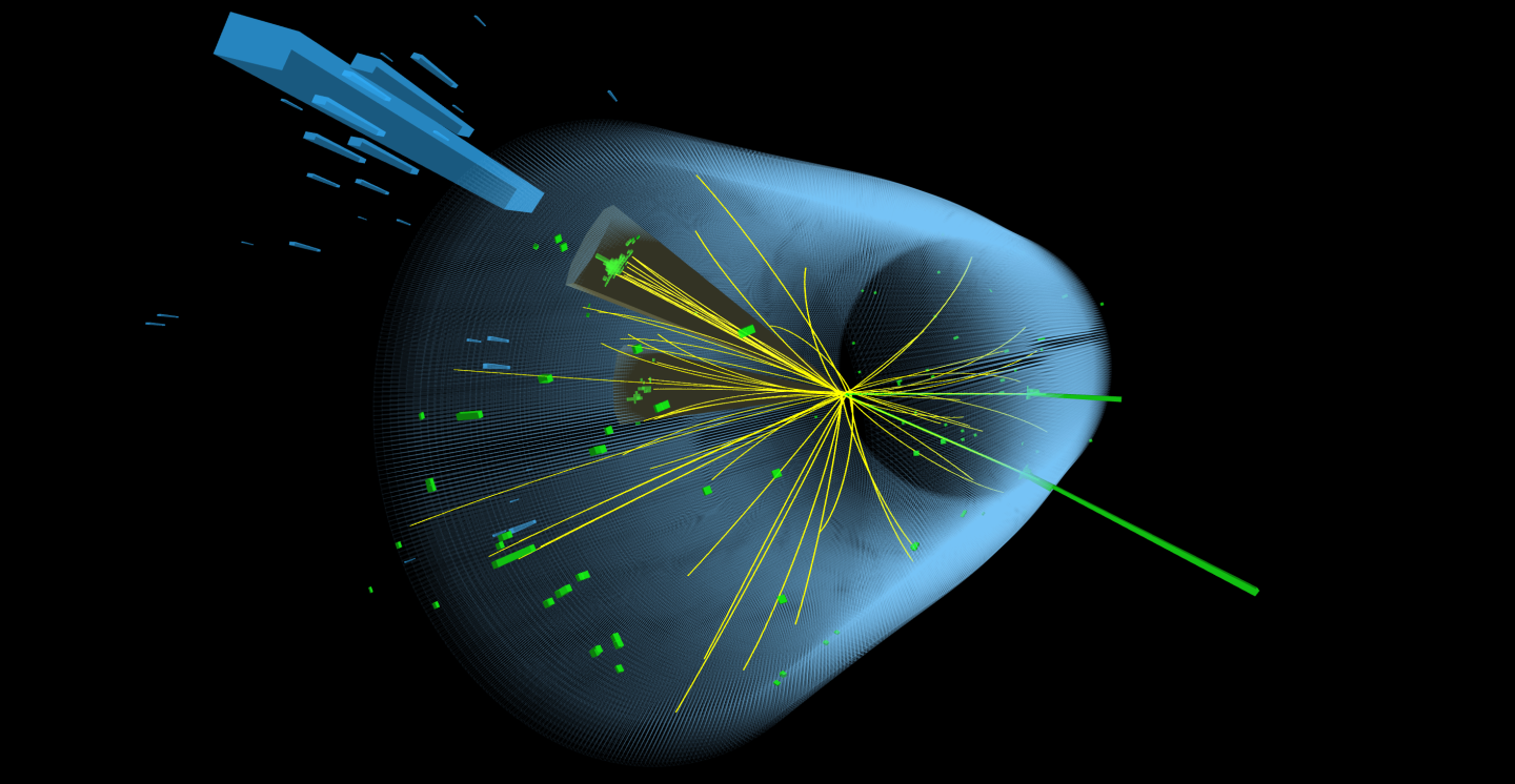 Display of a event observed in the CMS detector in which a Higgs boson decays to bottom quarks