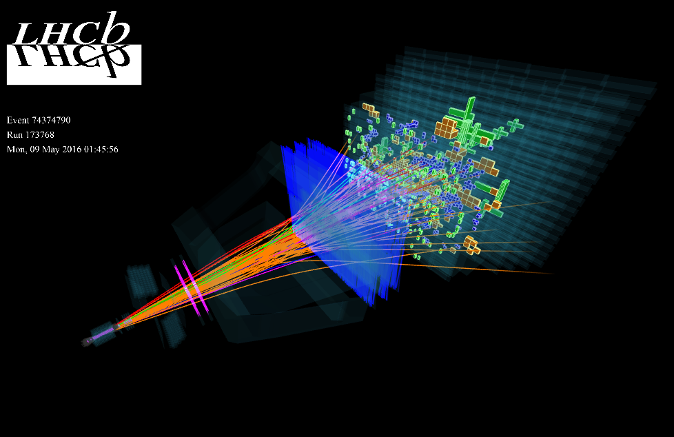 LHCb,event display,LHC run2,Experiments and Tracks,Experiments and Tracks