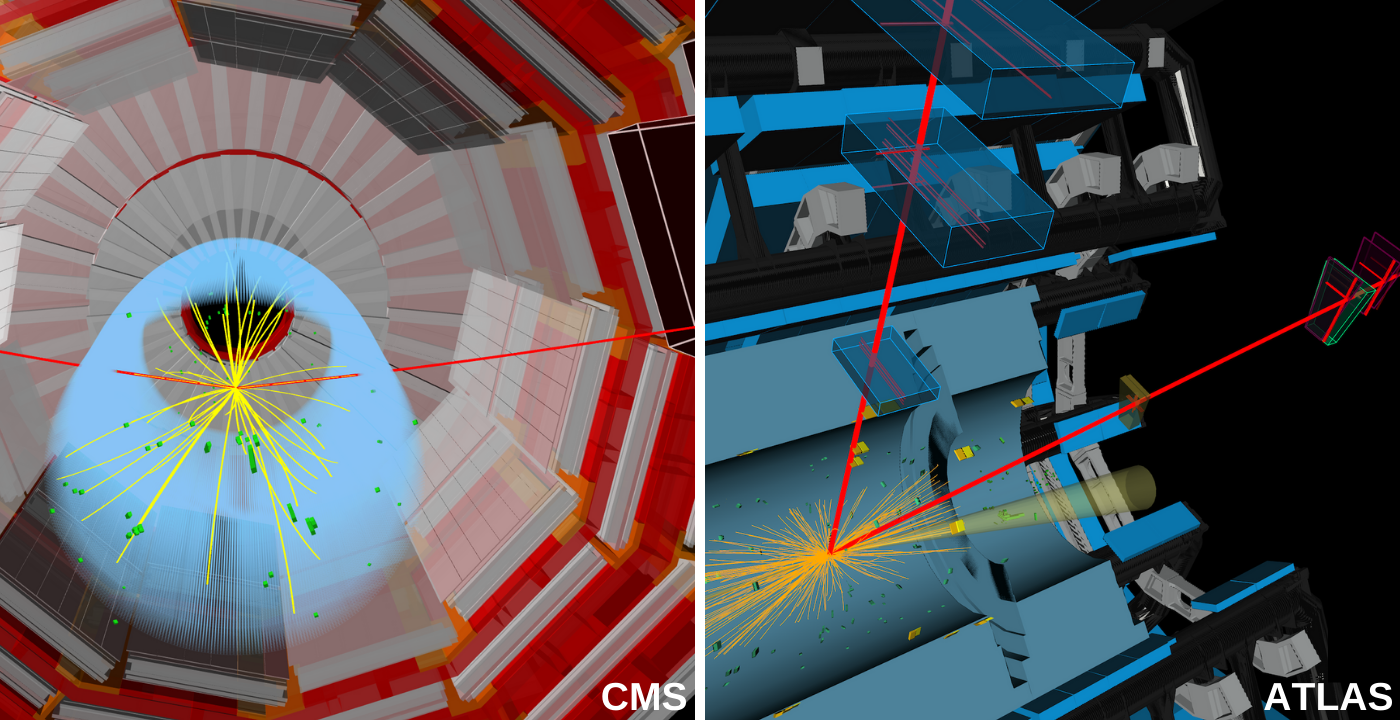 Candidate event displays of a Higgs boson decaying into two muons as recorded by CMS (left) and ATLAS (right).