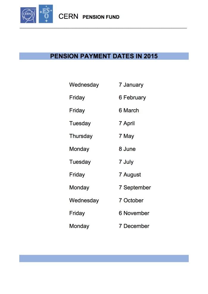 Pension payment dates in 2015 | CERN