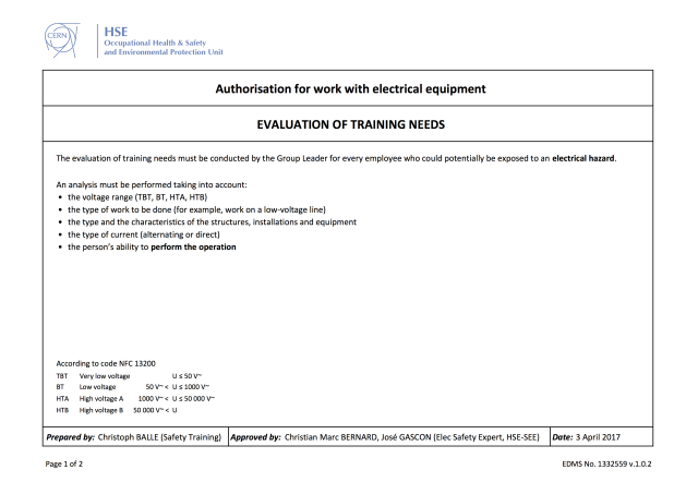 Authorisation for work with electrical equipment - CERN Document Server
