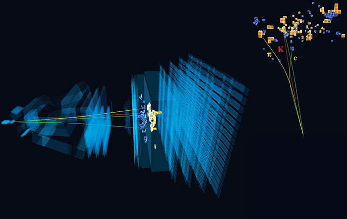 The decay of a B0 meson into a K*0 and an electron–positron pair in the LHCb detector, which is used for a sensitive test of lepton universality in the Standard Model