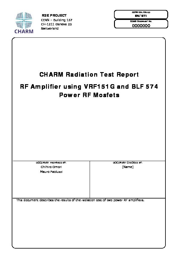 RF amplifier using VRF151G and BLF 574 power RF mosfets - CERN