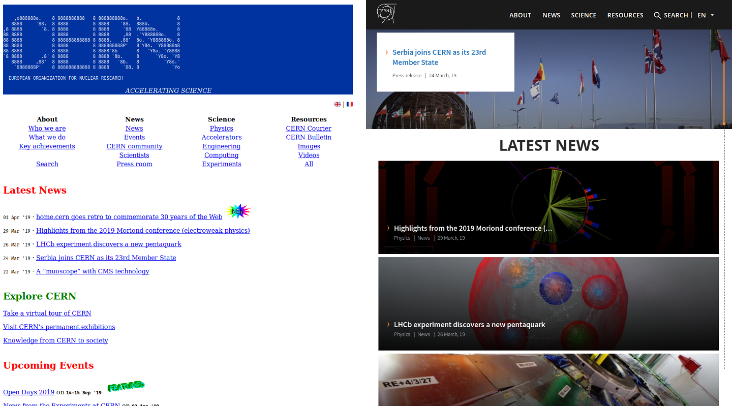 home.cern goes retro to commemorate 30 years of the Web